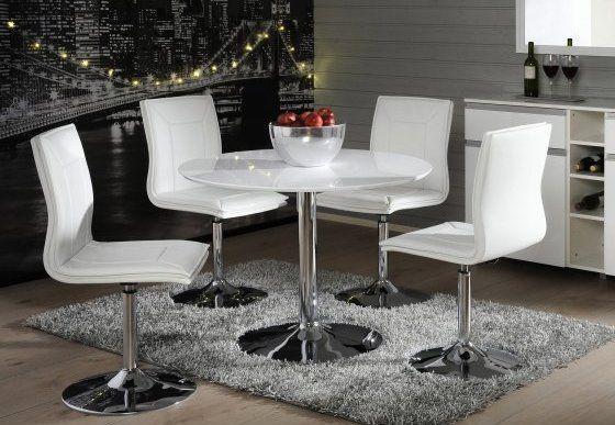 PIANO-ruokailuryhmä (pyöreä pöytä 100cm+4 tuolia)