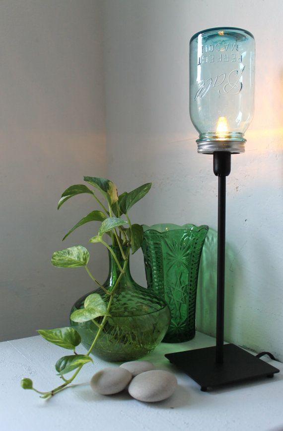 True Blue Mason Jar Lamp Upcycled Antique Mason Jar Table Top Lamp Black Metal And Aqua Blue Glass Lighting Fixture Bootsngus Light Mason Jar Lamp Blue Mason Jars Mason Jars