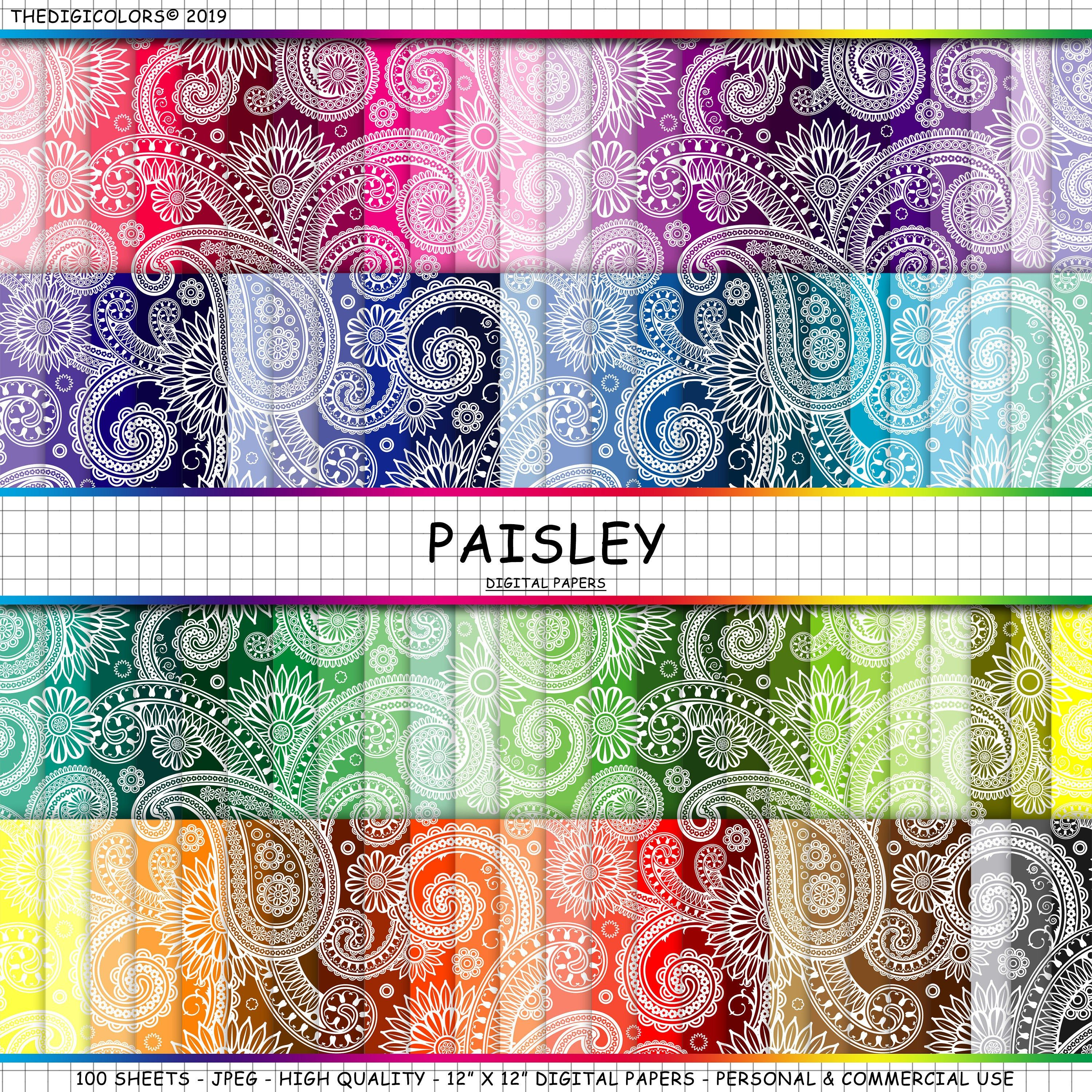 100 Paisley Digital Paper Pack Backgrounds Floral Paisley Papers Floral Paisley Scrapbooking Paper Monochrom Wedding Invitations 300 With Images