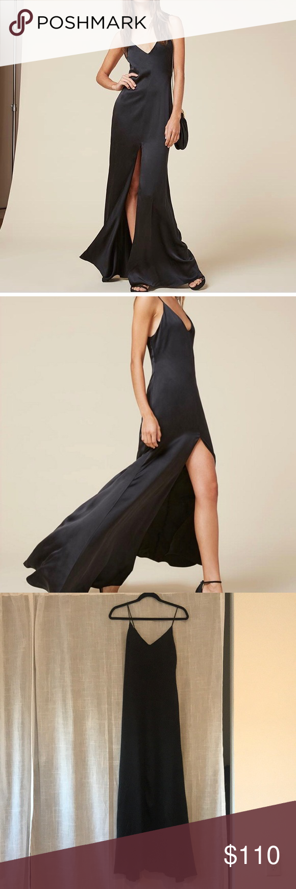6d6d28ac1a66 Reformation Long Black Evening Slip Cabot Dress Style name  Cabot dress.  Long black