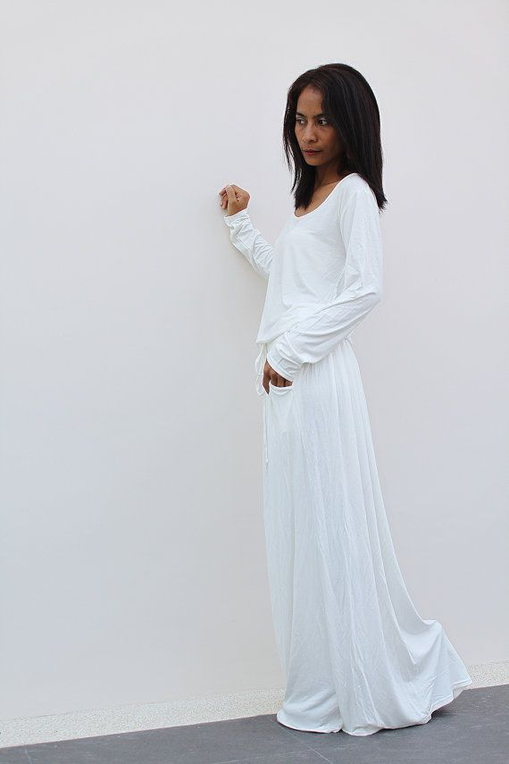 OffWhite Maxi Dress Long Sleeve dress Autumn Thrills by Nuichan ...