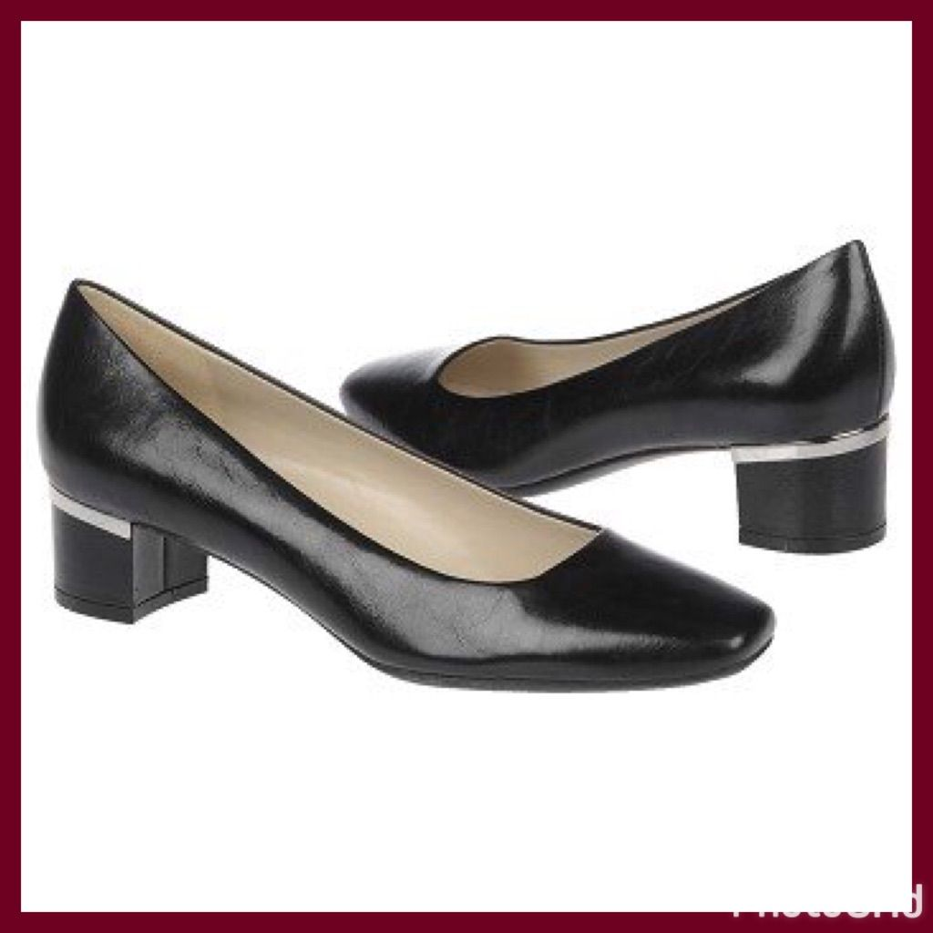 "Black Leather Work Pumps  Naturalizer """"Wanda"""""