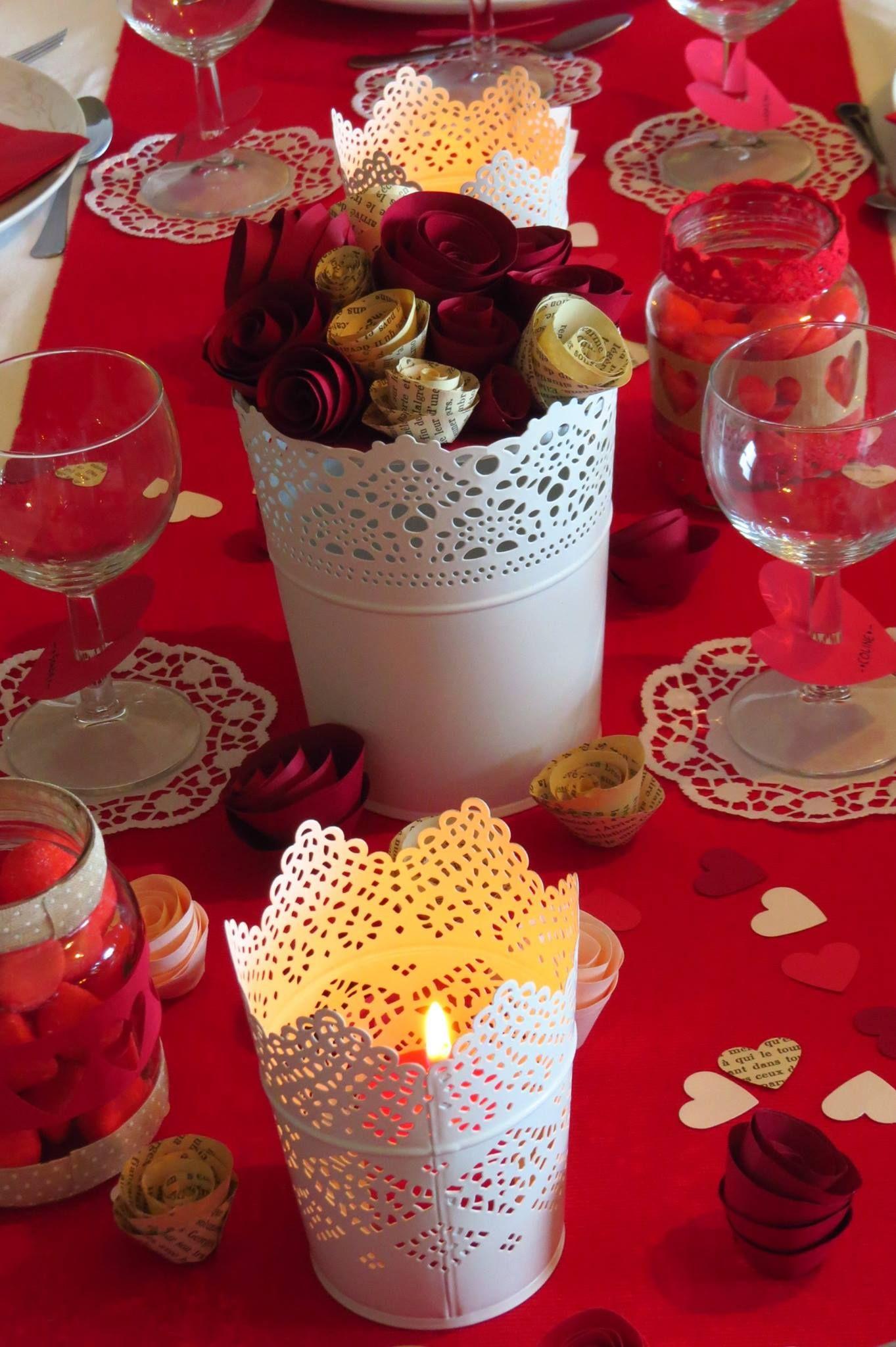 Table Saint Valentin dedans idée décoration table saint valentin ou mariage bougie fleur