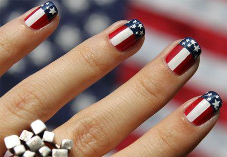 Uñas Con La Bandera De Usa Nail Art Nails 4th Of July Nails Y
