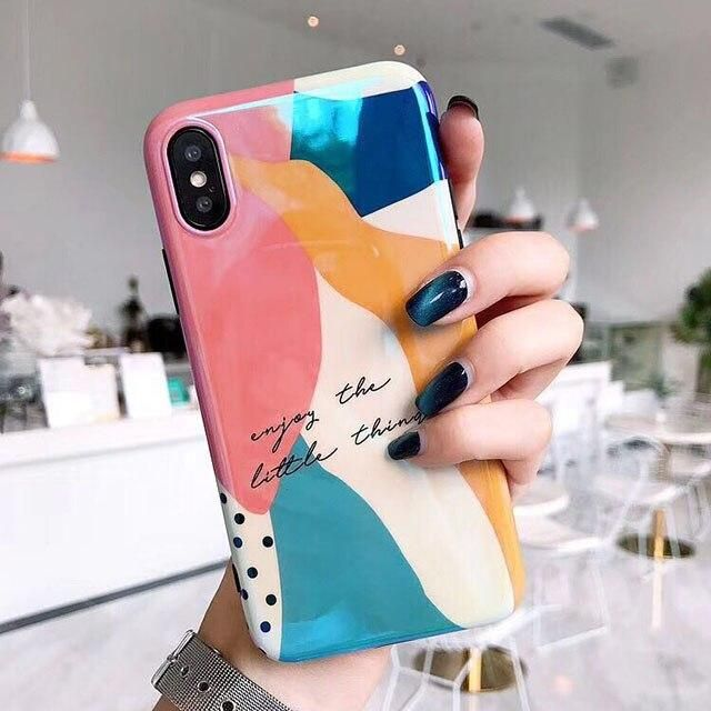 LACK  Colorful Art Graffiti Phone Case For iphone X Case For iphone 6 6S 7 8 Plus Luxury Blu-ray Glossy Cover Cartoon Cases Capa – handy