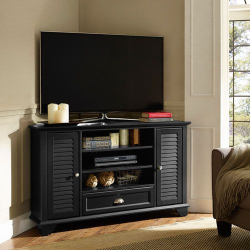 Palmetto Black 50 Inch Corner Tv Stand Crosley Furniture Tv Cabinets Tv  Stands U0026 Cabinets