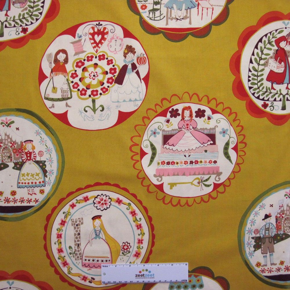 Alexander Henry FAIRYTALE Gold Storybook Illustration Quilt Fabric by the Yard #AlexanderHenry