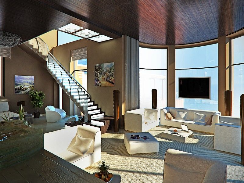 Modern Living Room; Water Feature; Lighted Stairs With Translucent  Railings; Wood Ceiling, Amazing Rug And Furniture; Floor To Ceiling Windows  And Motorized ...