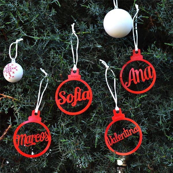 Adorno Navidad Personalizado con nombre Sets de 4 o 10 unidades El