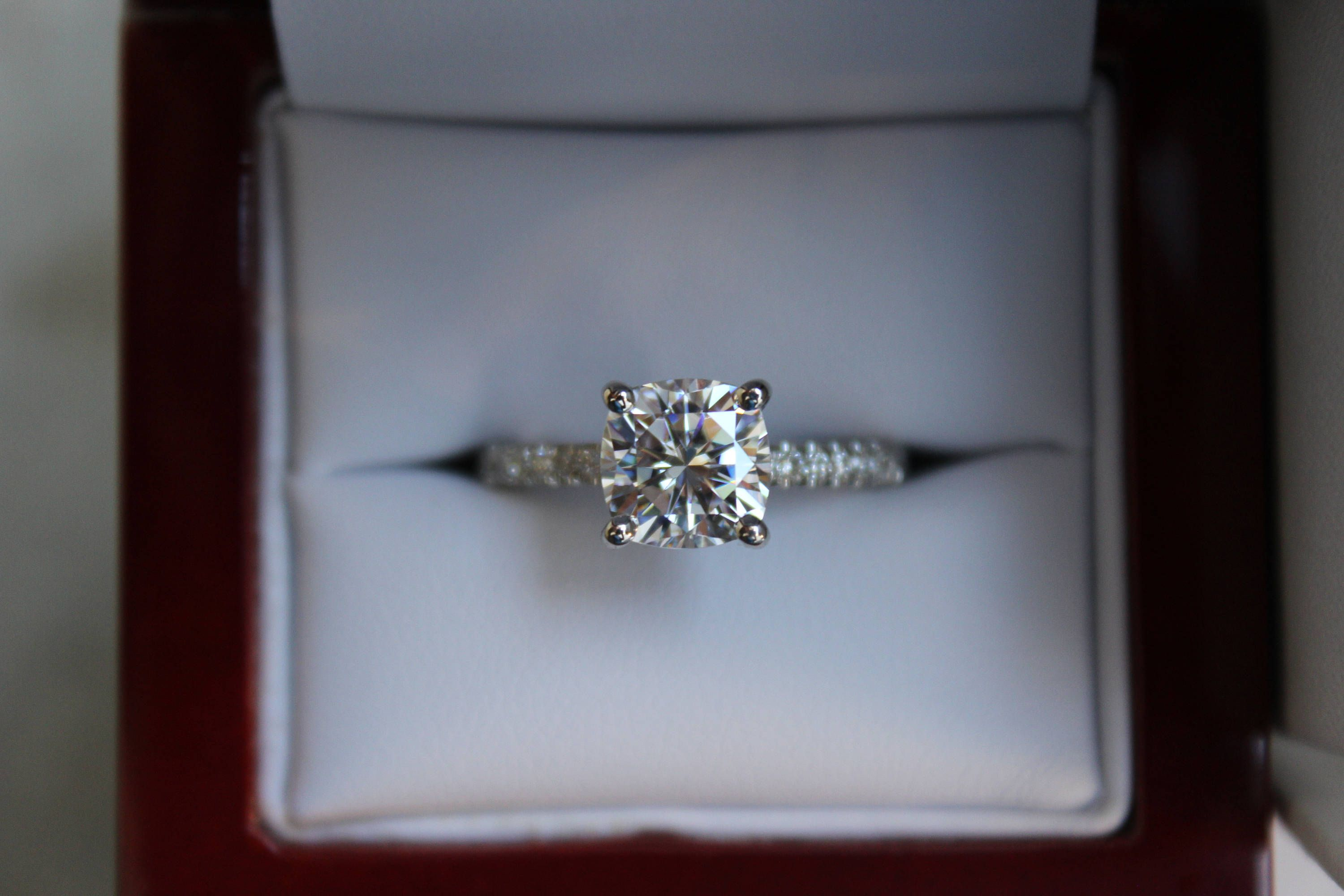 fa36380b78e3e 2.20 Carat Cushion-Cut Forever One Moissanite & Diamond Engagement ...