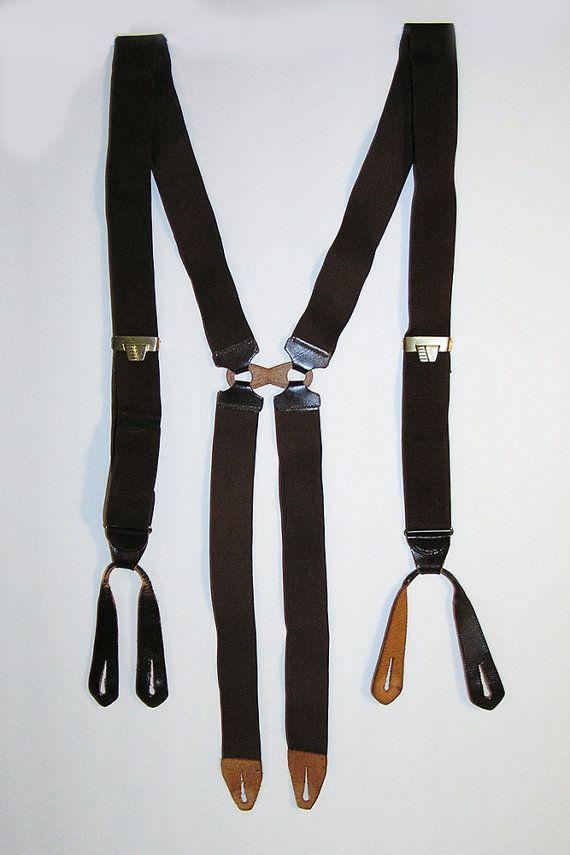 22e18fd0f09 1930s-1940s Suspenders Braces Brown H Back V Adjusters Leather Button Tabs