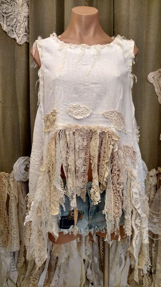 White Linen Silk Summer Boho Hippie L Top Vintage Lace Sleeveless Shirt tmyers