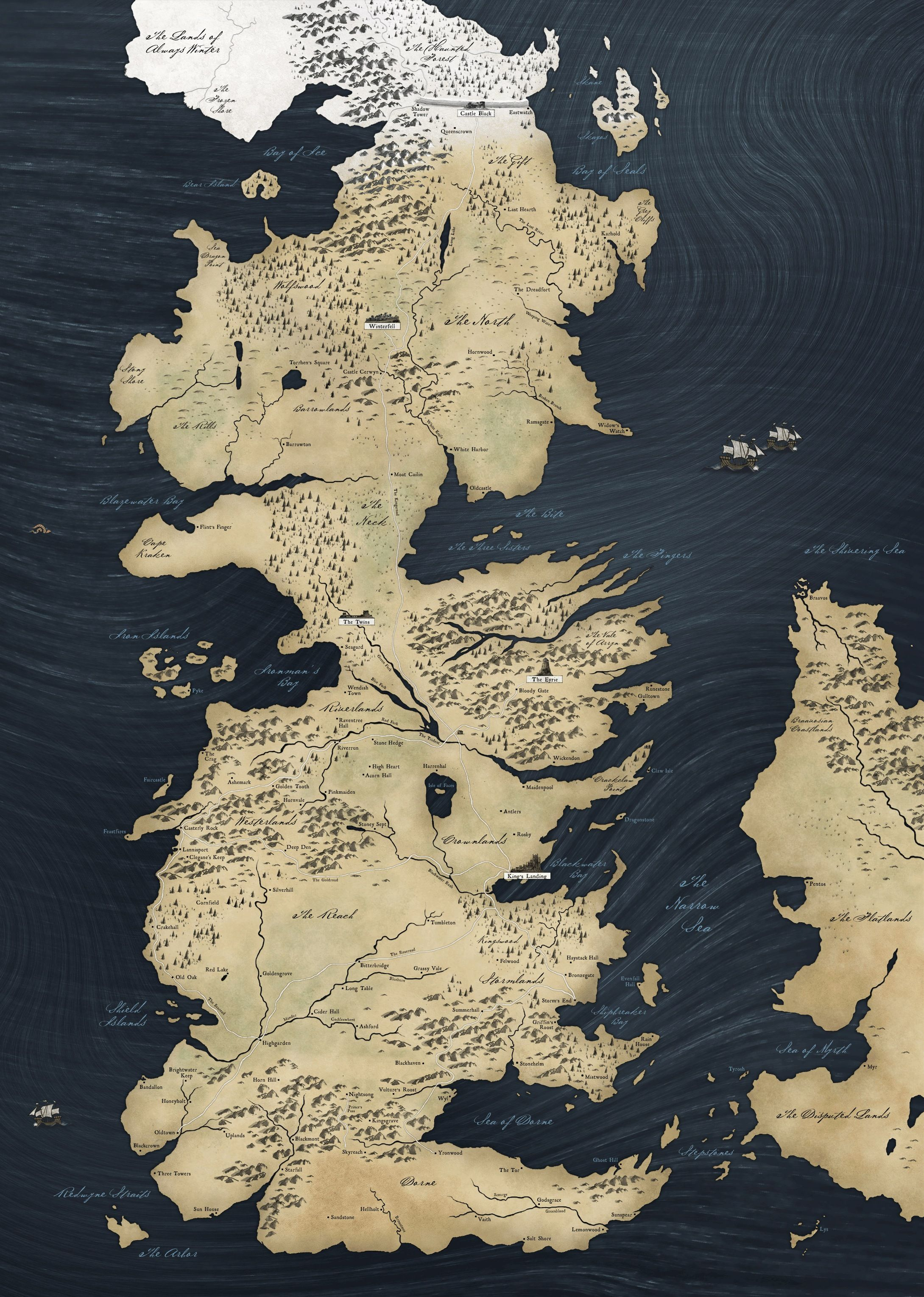 Epic map of the continents of westeros and essos from a song of ice ...