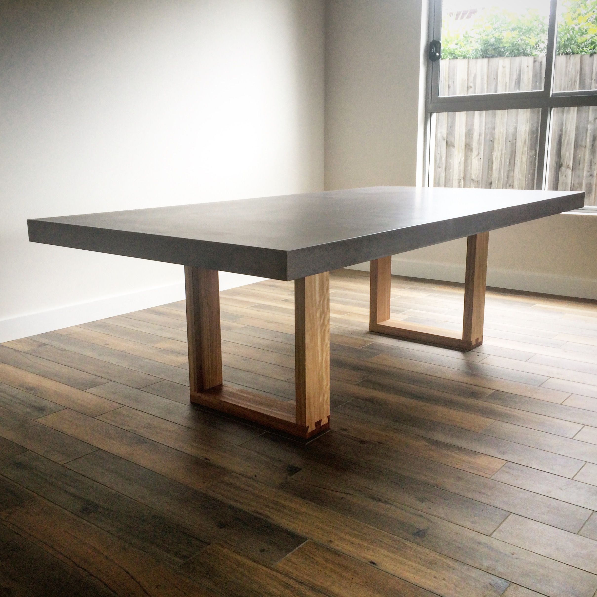 Polished Concrete Table Top With A Timber Base By Mitchell Bink Design Www Mbconcretedesign Au