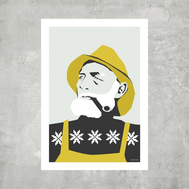 Fiskeren Bjorn Bjorg 3 Pk Kort Art Vintage Posters