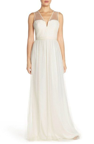 Amsale illusion v-neck tulle gown: http://www.stylemepretty.com/2017/03/12/budget-white-wedding-dresses/