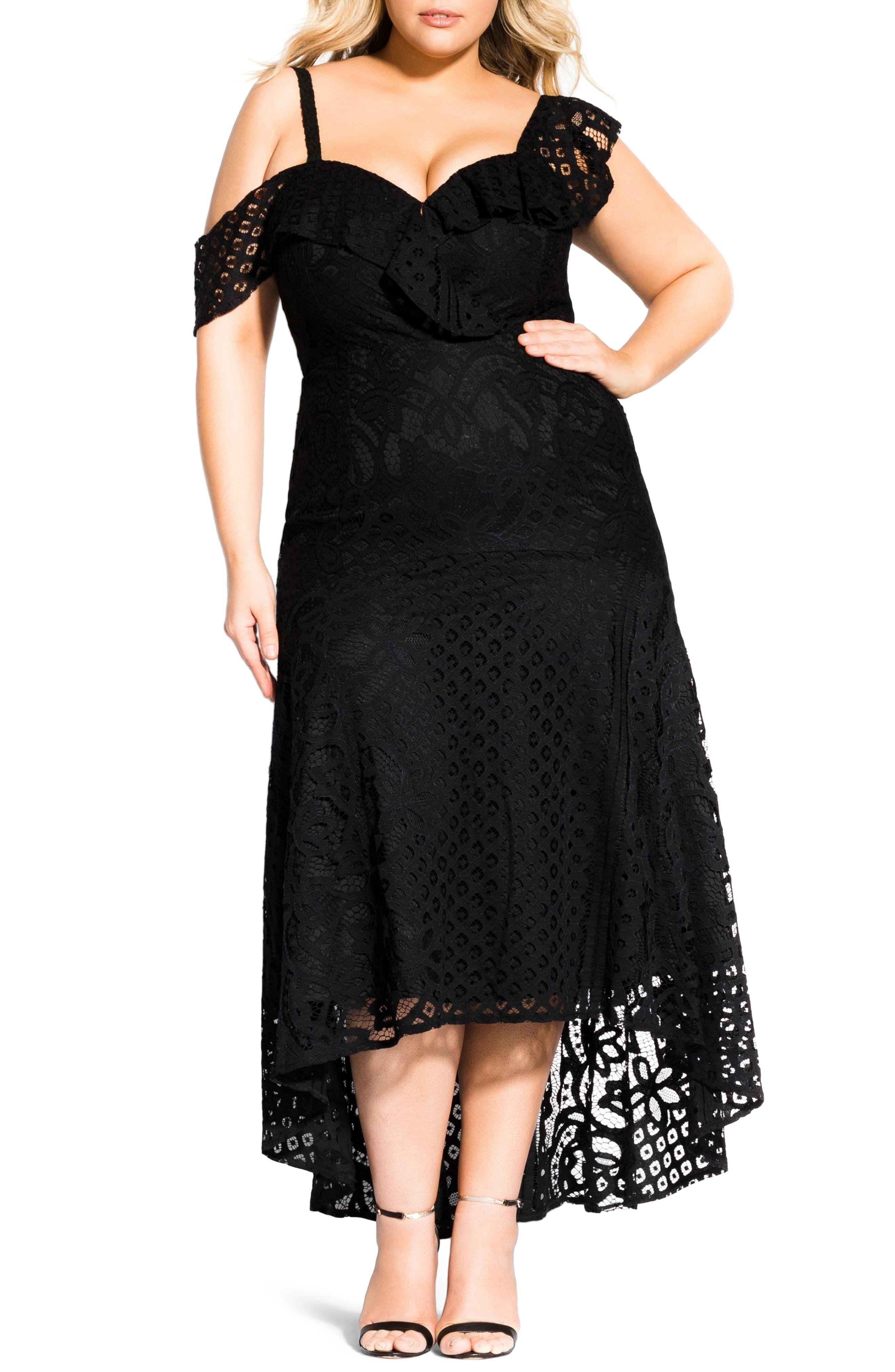 City Chic Womens Plus Size High-Low Hem Dress