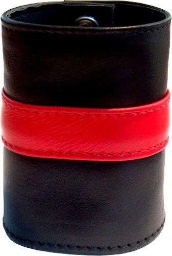 8c7c35a783b3 Muñequera Cartera de Cuero con Cremallera Wrist Wallet Negro Rojo 20cm