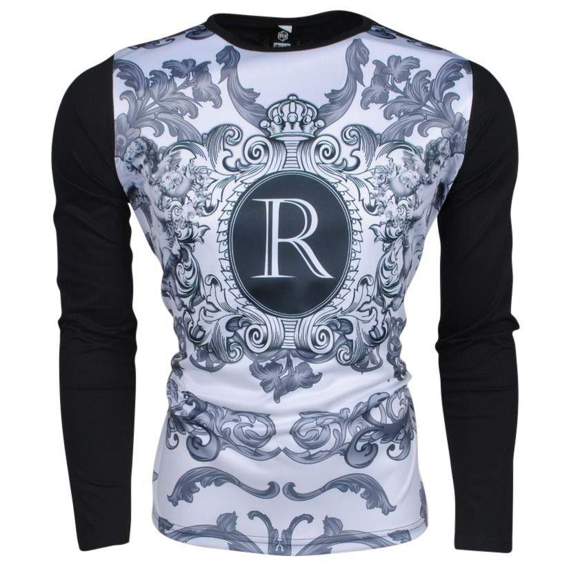 Vintage Allover Rivaldi Zwart Shirt Longsleeve Moldu Heren Met Print Trendy RAYdAq
