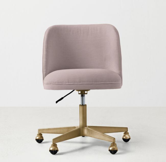 Alessa Desk Chair Antiqued Brass Pink desk chair