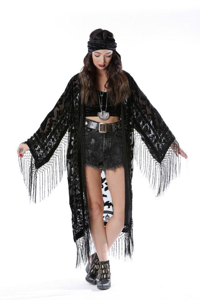 544a4a40d Moon Chaser Brocade Velvet Burnout Fringe Kimono - Saltwater Gypsy