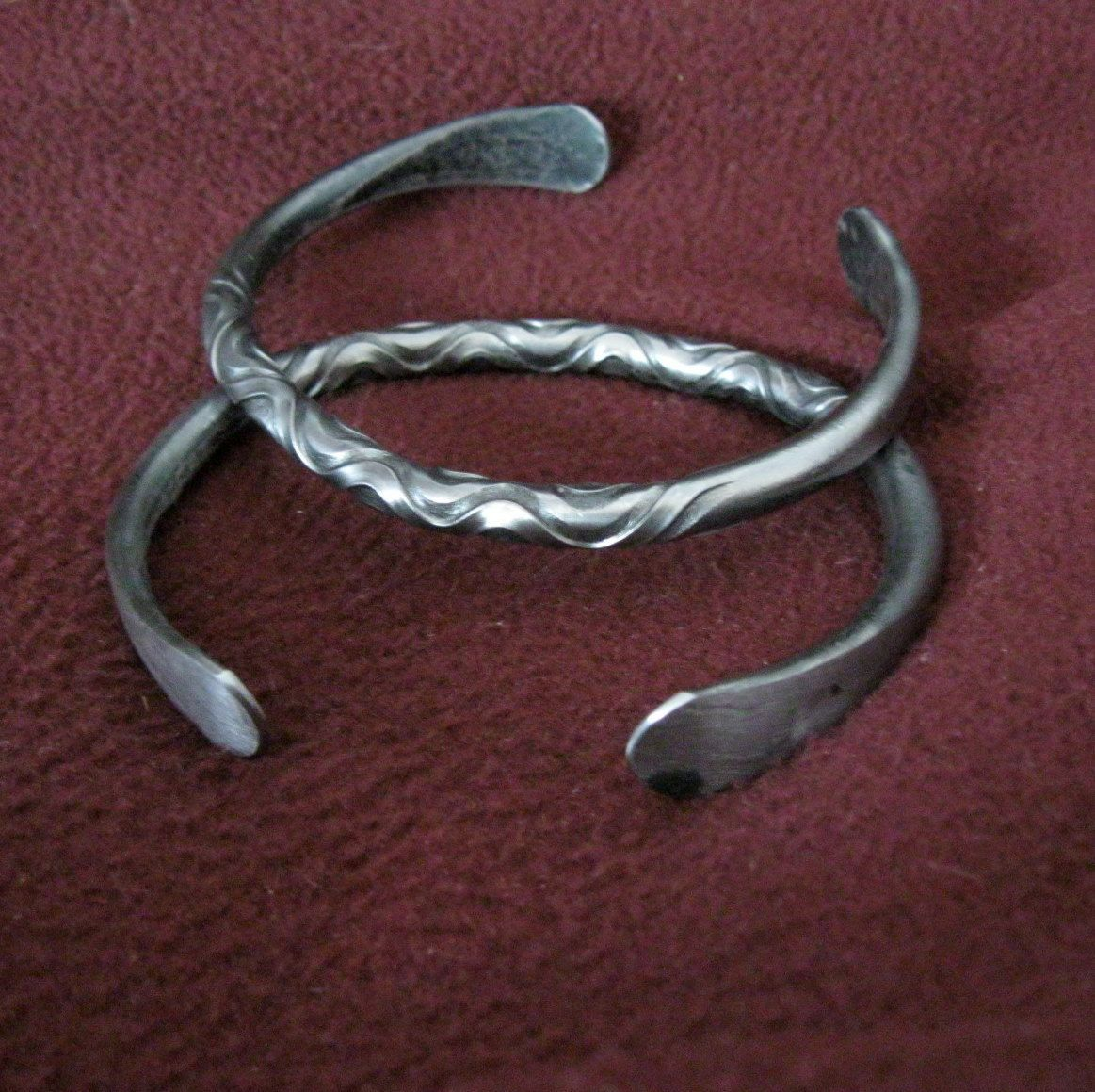 Pair of Iron Bracelets Viking Celtic blacksmith Mens Jewelry