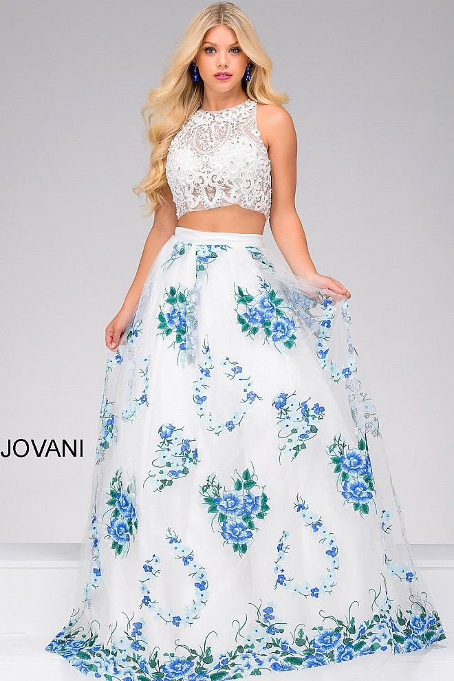 White and blue floor length two piece sleeveless ballgown with lace white high neck lace bodice and floral print skirt two piece prom ballgown mightylinksfo