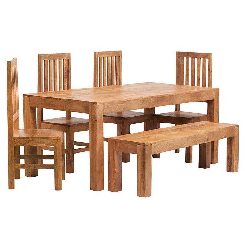 6 Seater Dining Set Rectangle Table Seat Bench Natural Mango