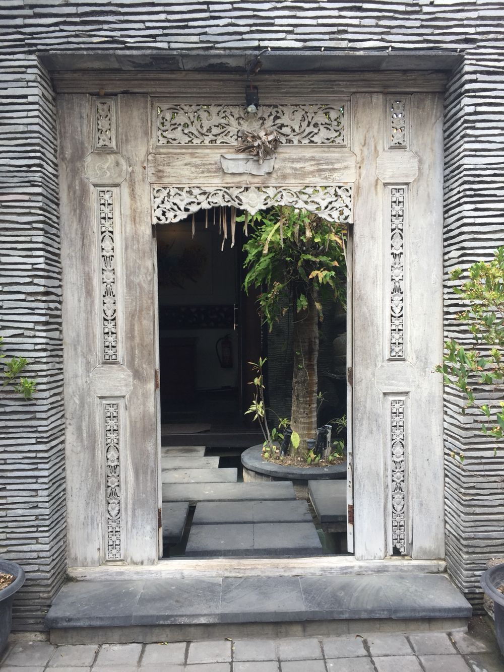 This Carved Teak Door Makes A Beautiful Entrance Java