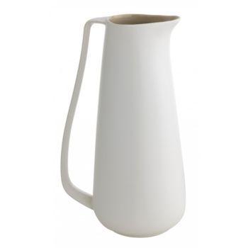 pichet en ceramique h. 27 cm blanc/taupe