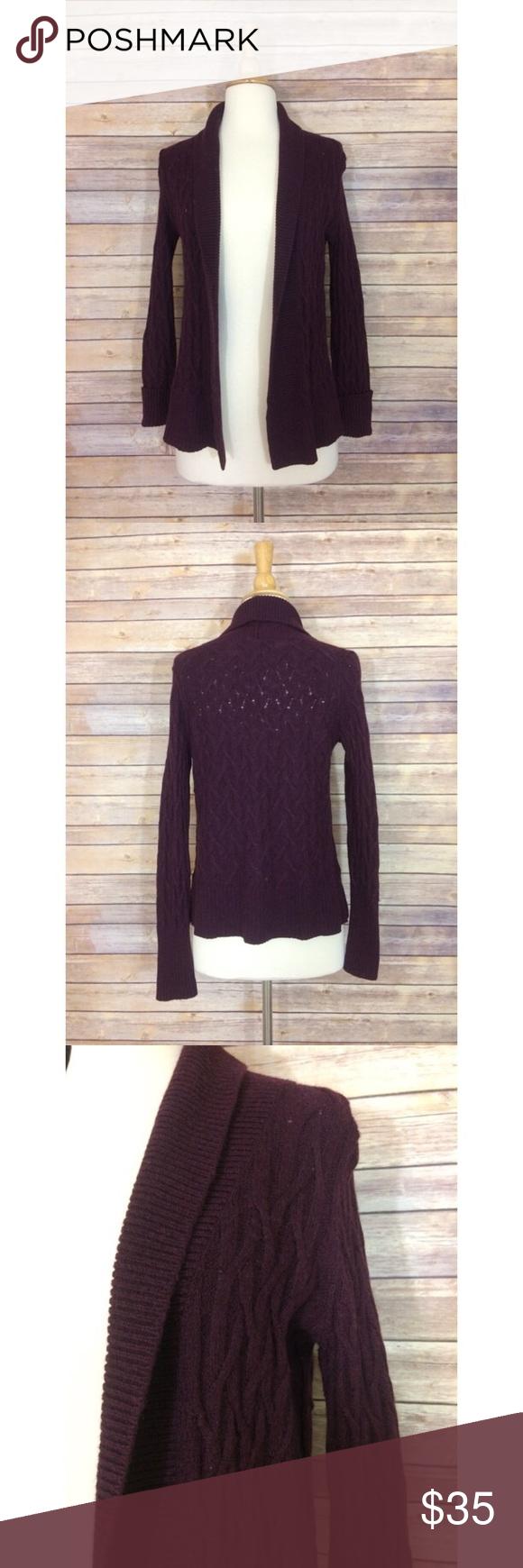 Loft Plum Open Shawl Cardigan Sweater Open cable knit shawl ...