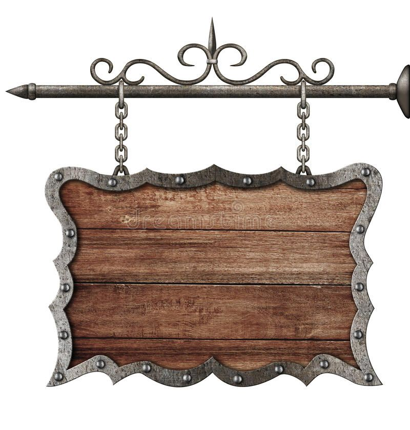 Medieval Wooden Sign Board Hanging On Chains Isolated On White Aff Sign Board Medieval Wooden Isolated Ad Wooden Signs Medieval Decor Signboard