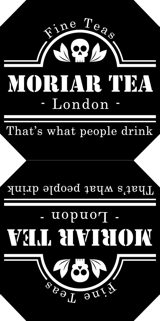 purplueprose:  Make Your Own Moriar Tea Labels! So you might have seen some of my moriar tea teabag labels floating around tumblr…  I thought I'd share the template I made, so you can make your own! First of all, the design itself is not mine at all, and belongs to sirwatson, who made the original t-shirt design found on redbubble. All credit belongs to her; I merely reshaped the design! To make the labels, you need: A printer Paper Scissors String (sewing thread, kitchen twine, embroidery…