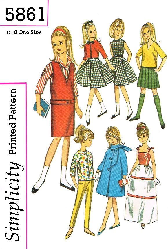 Simplicity 5861, reproduced pattern, for 9 inches such as skipper ...