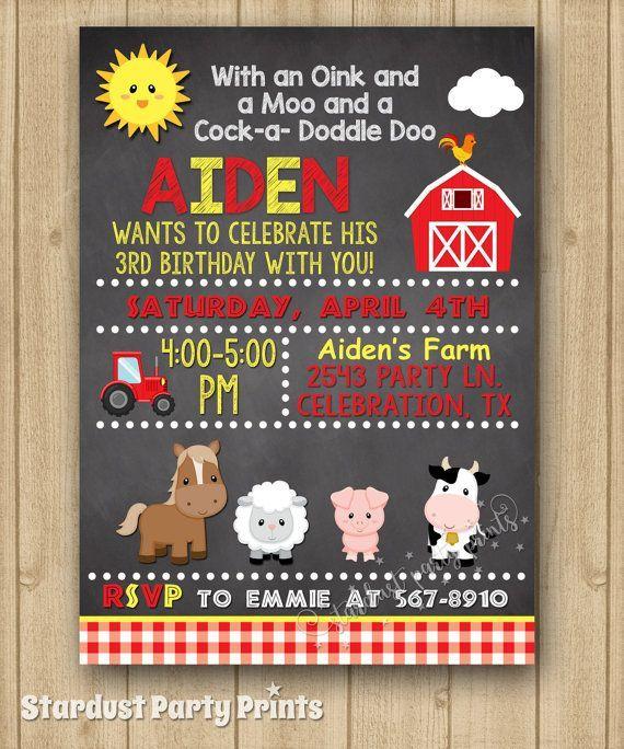 farm boy birthday invitation farm
