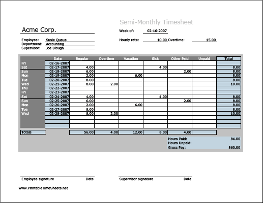 semi monthly timesheet horizontal orientation work hours entered