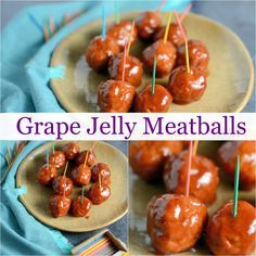 Grape Jelly Meatballs Recipe- a classic appetizer made with just 3 ingredients and 5 minutes prep work! Grape Jelly Meatballs can be made in the crockpot or on the stovetop.