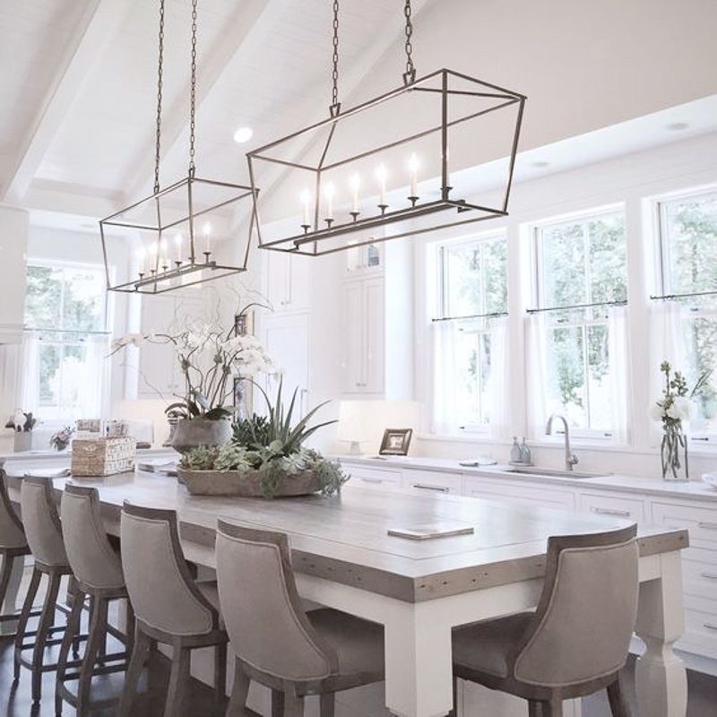 White Kitchen With Natural Elements Lots Of Windows Beautiful Light Fixtures 2 J Modern Farmhouse Dining Room Dining Room Lighting Farmhouse Dining Rooms Decor