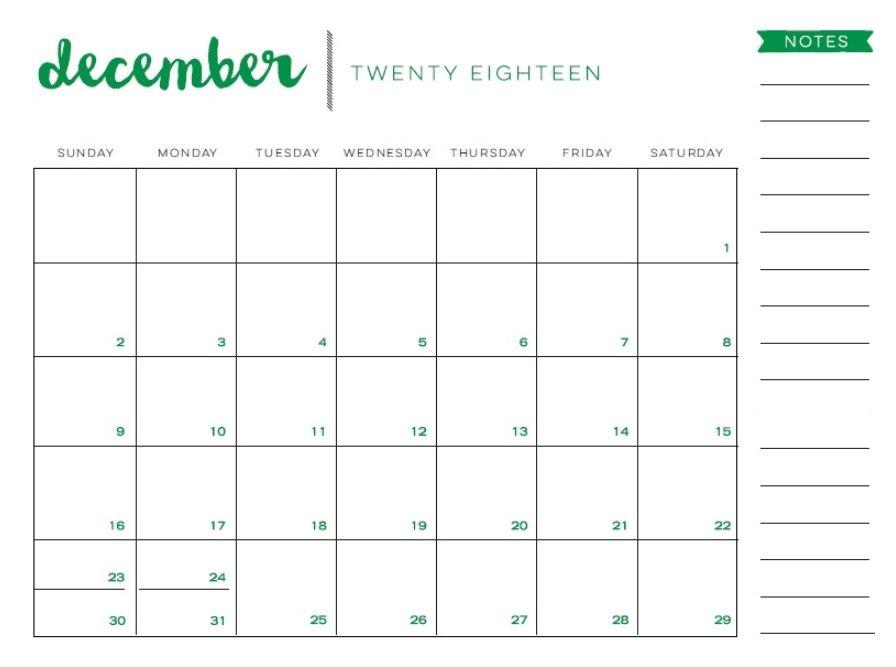 Free December 2018 Blank Calendar Calendar 2018 Pinterest