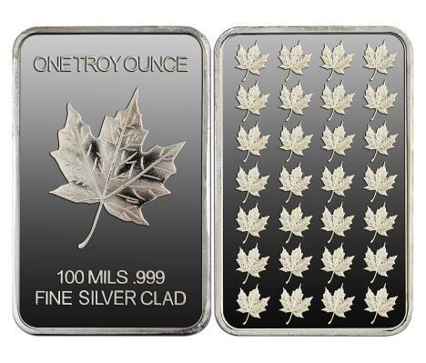 1 Troy Oz 999 Pure Silver Maple Leaf Bar Gems Art Silver Maple Leaf Coin Collecting