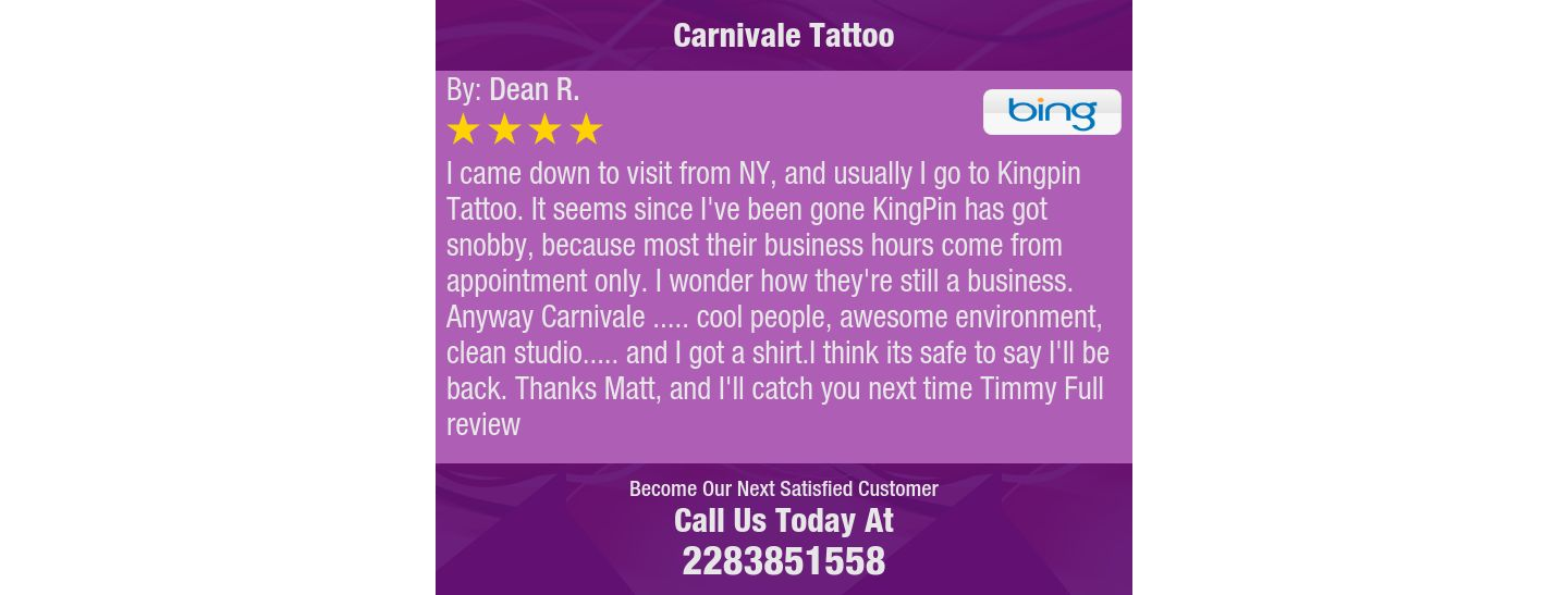 I came down to visit from NY, and usually I go to Kingpin Tattoo. It seems since I've...