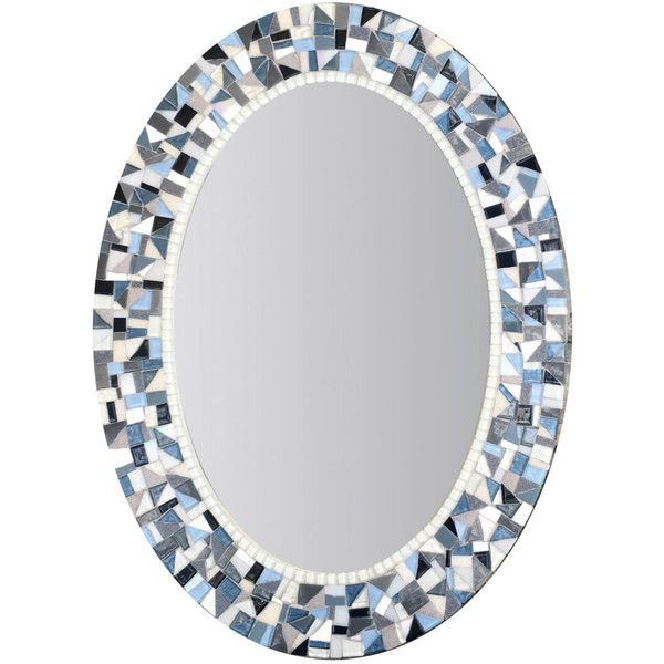Blue and Gray Mirror Oval Mosaic Mirror Bathroom Decor Mirror for... ($185) ❤ liked on Polyvore featuring home, home decor, small item storage, bathroom, bathroom décor, home & living, silver, rectangle wall mirror, mosaic wall mirror and gray home decor