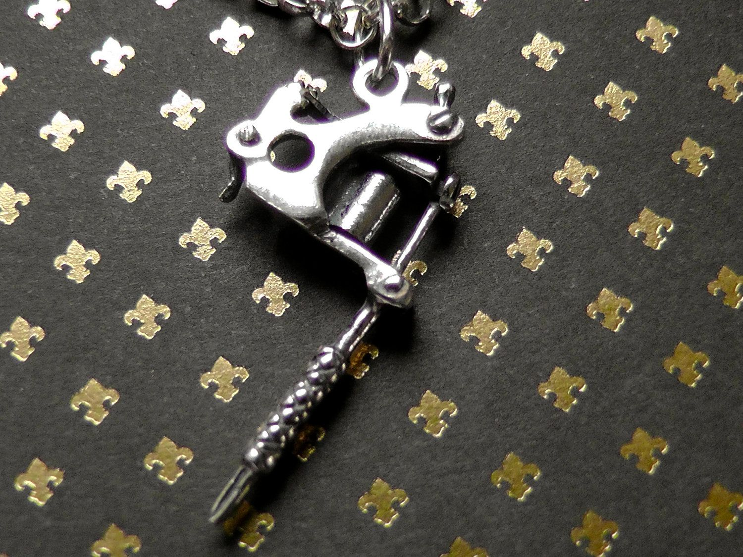 Sterling silver tattoo gun charm necklace silver 5500 via etsy sterling silver tattoo gun charm necklace silver 5500 via etsy aloadofball Images