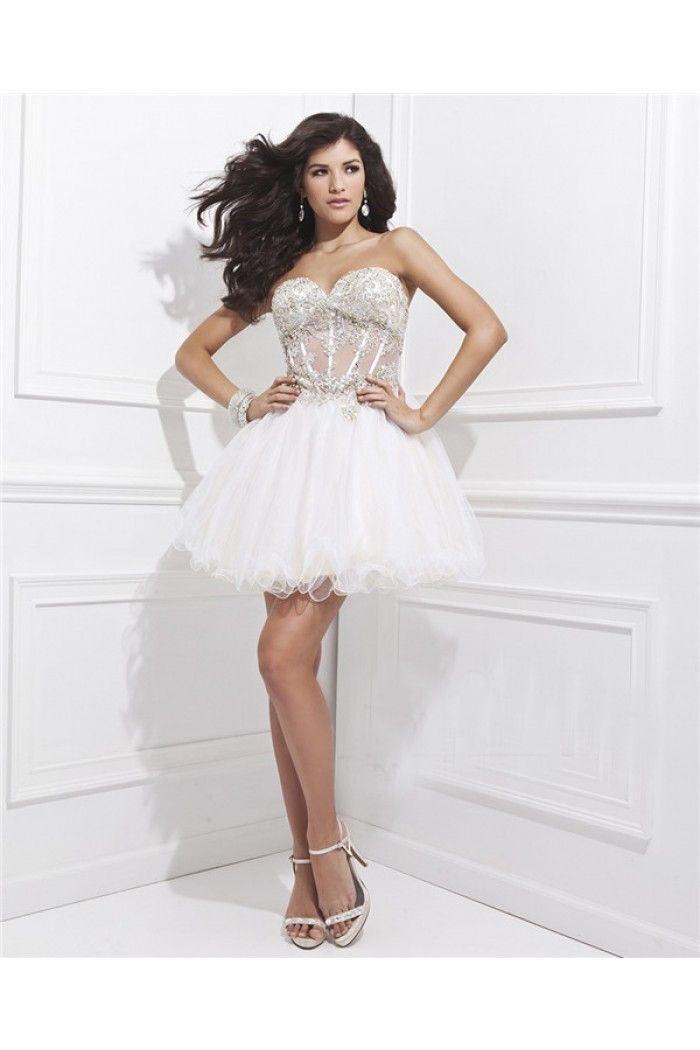 Short White Beaded Prom Dress