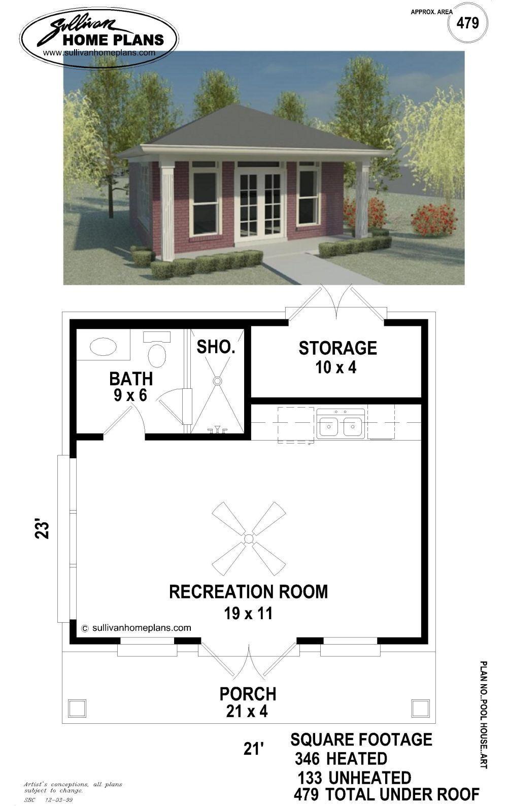B1 0479 B P Pool House Plans Small Pool Houses Pool House