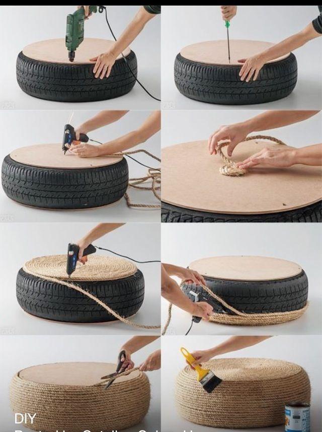 Faça Você Mesmo: Puff de pneu - #Upcycling #kreativehandwerke