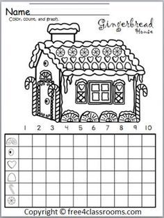 Free gingerbread house graph fun winter and christmas math activity also rh za pinterest