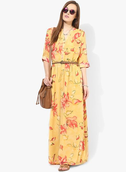 6eaad9afb46 Buy MIAMINX Yellow Colored Printed Maxi Dress for Women Online India ...