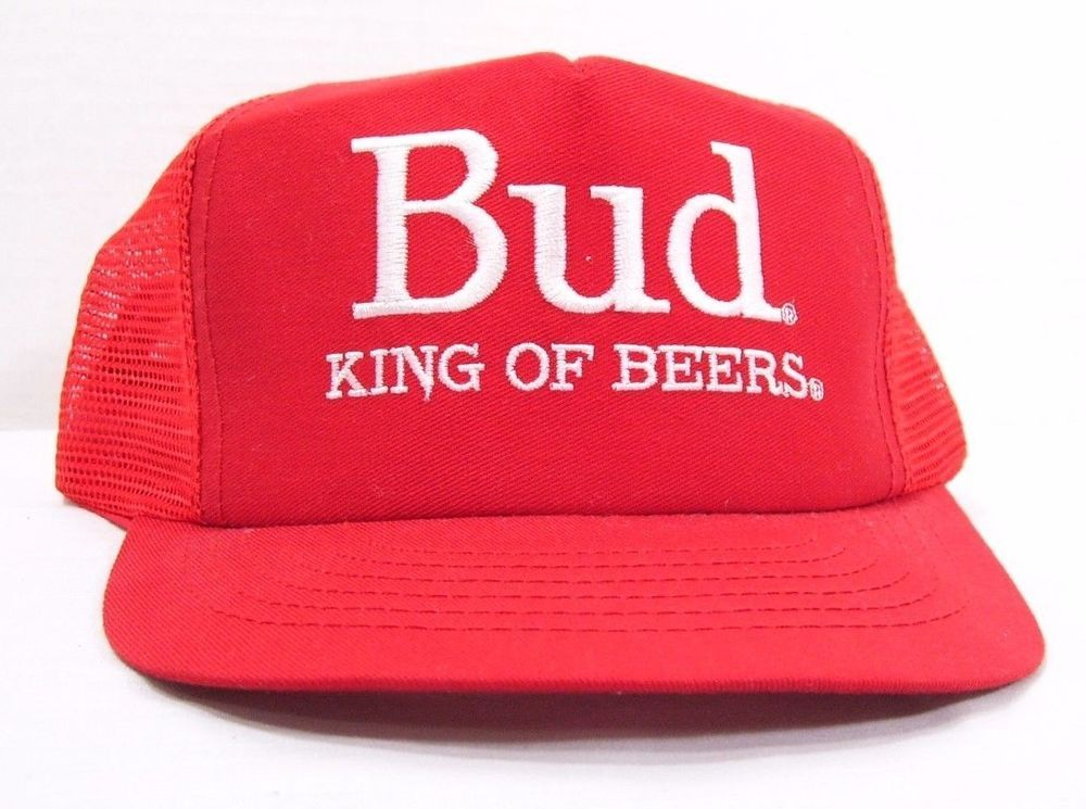 37d641972d6 Bud King Of Beers Budweiser Red Snapback Trucker Hat Estate Find Made in  the USA