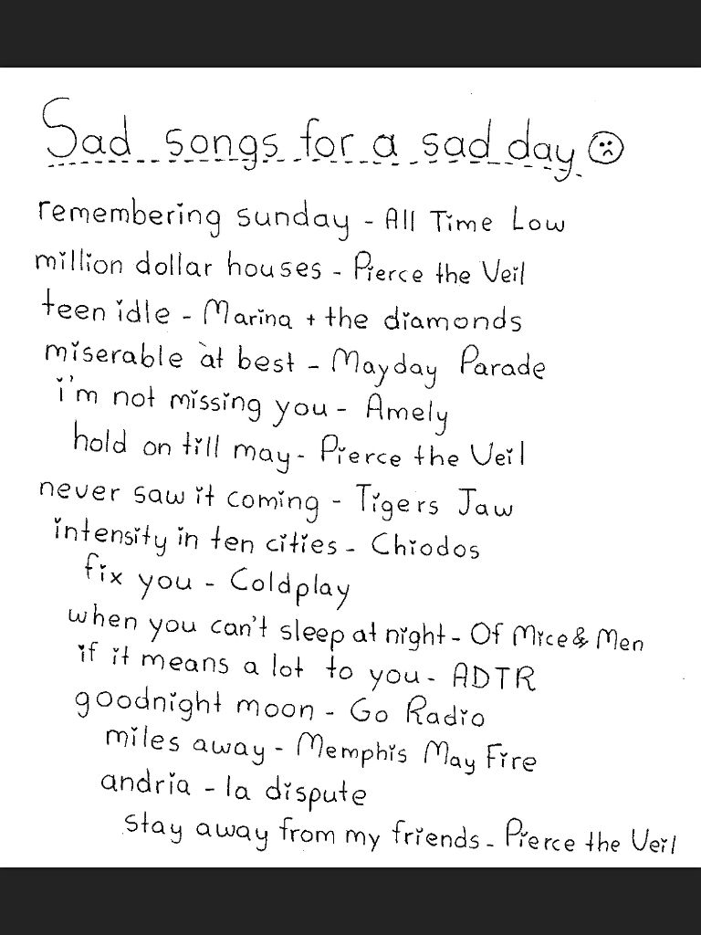 Sad alternative songs